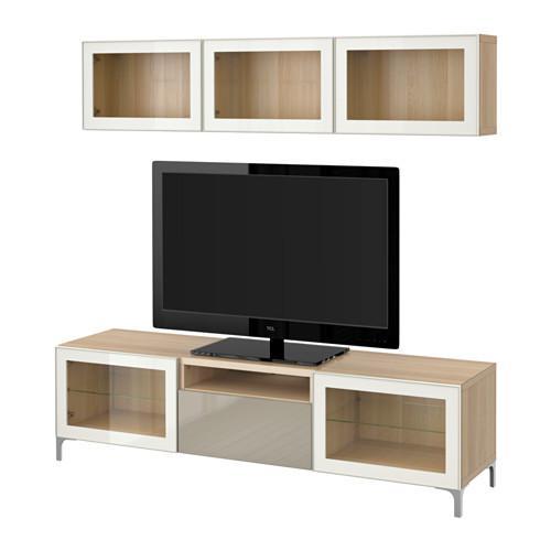 best tv schrank kombinierte glast r ein gebleichter eiche gl nzend selsviken beige. Black Bedroom Furniture Sets. Home Design Ideas