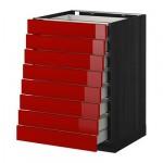 МЕТОД / МАКСИМЕРА Наполн шкаф 8 фронт/8 низк ящиков - 60x60 см, Рингульт глянцевый красный, под дерево черный
