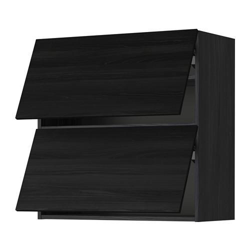 МЕТОД Навесной шкаф/2 дверцы, горизонтал - 80x80 см, Тингсрид под дерево черный, под дерево черный