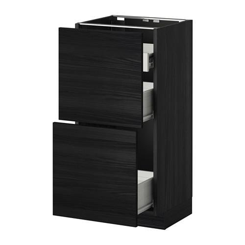 METHOD / FORVARA Nap cabinet 2 FRNT PNL / 1nizk / 2sr drawers - wood black, Tingsrid wood black, 40x37 cm