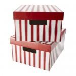 scatola Pingle con un coperchio - una striscia di bianco / rosso