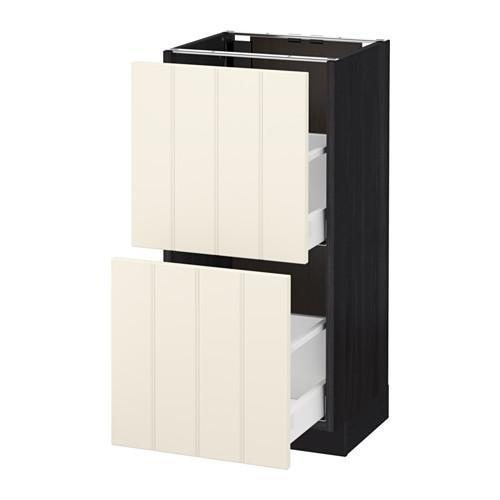 МЕТОД / МАКСИМЕРА Напольный шкаф с 2 ящиками - 40x37 см, Хитарп белый с оттенком, под дерево черный