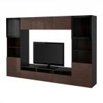 БЕСТО Шкаф для ТВ, комбин/стеклян дверцы - черно-коричневый/Сельсвикен глянцевый/коричневый прозрач стекло, направляющие ящика,нажимные