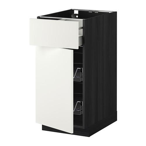 МЕТОД / МАКСИМЕРА Напольн шкаф с пров корз/ящ/дверью - 40x60 см, Хэггеби белый, под дерево черный