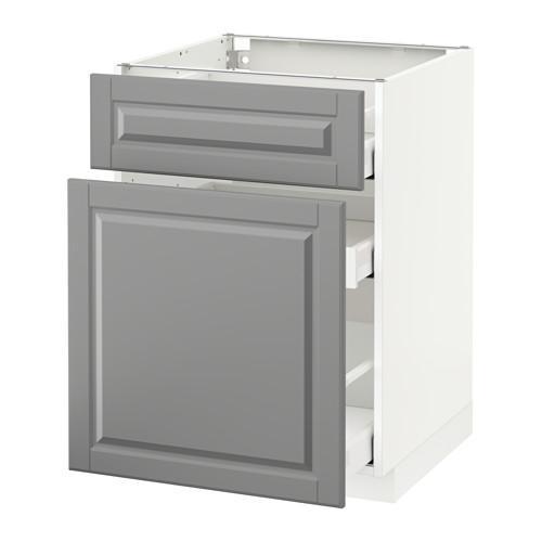 МЕТОД / МАКСИМЕРА Напольн шкаф/выдвижн секц/ящик - 60x60 см, Будбин серый, белый