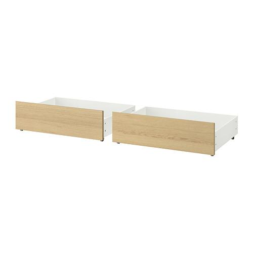 МАЛЬМ Ящик д/высокого каркаса кровати - дубовый шпон, беленый