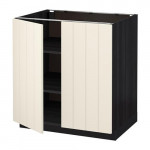 МЕТОД Напол шкаф с полками/2двери - 80x60 см, Хитарп белый с оттенком, под дерево черный