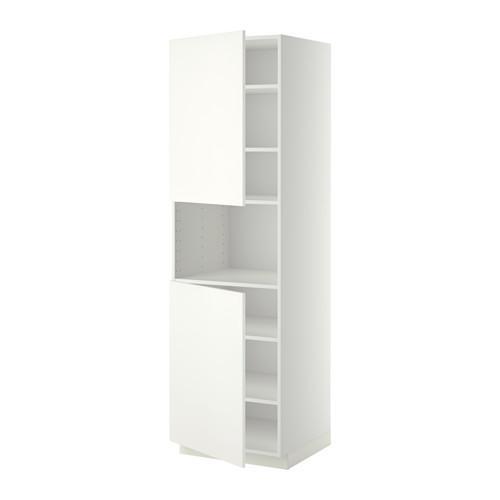 МЕТОД Выс шкаф д/СВЧ/2 дверцы/полки - 60x60x200 см, Хэггеби белый, белый