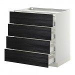 METHOD / MAXIMER Outdoor cabinet / 4 front / 4 drawer - white, Tingsried under wood black, 80x60 cm