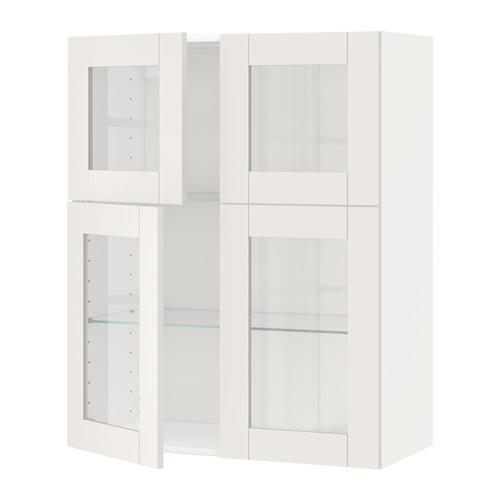 МЕТОД Навесной шкаф с полками/4 стекл дв - белый, Сэведаль белый