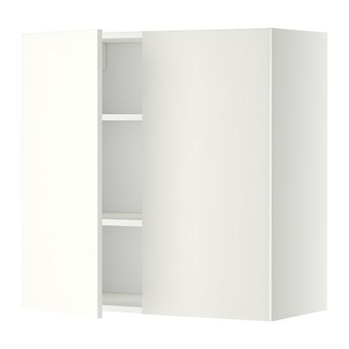 МЕТОД Навесной шкаф с полками/2дверцы - 80x80 см, Хэггеби белый, белый