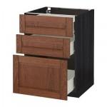 МЕТОД / ФОРВАРА Напольный шкаф с 3 ящиками - 60x60 см, Филипстад коричневый, под дерево черный
