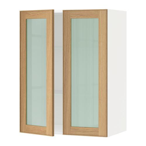 МЕТОД Навесной шкаф с полками/2 стекл дв - 60x80 см, Экестад дуб, белый
