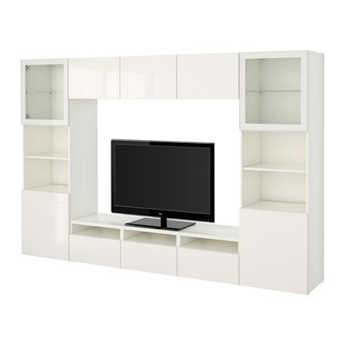 Hoek Tv Meubel Glas.Bessto Kabinet Voor Tv Combinaties Glazen Deuren Wit