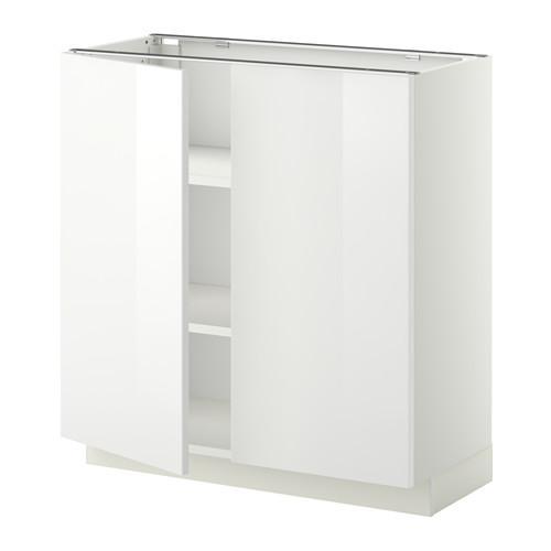 МЕТОД Напол шкаф с полками/2двери - 80x37 см, Рингульт глянцевый белый, белый