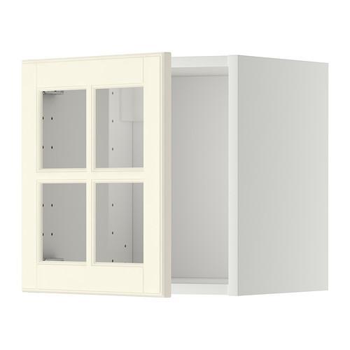 МЕТОД Навесной шкаф со стеклянной дверью - белый, Будбин белый с оттенком