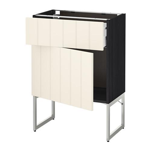 МЕТОД / МАКСИМЕРА Напольный шкаф с ящиком/дверью - 60x37x60 см, Хитарп белый с оттенком, под дерево черный