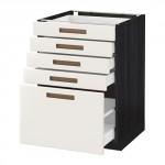 МЕТОД / МАКСИМЕРА Напольный шкаф с 5 ящиками - 60x60 см, Мэрста белый, под дерево черный