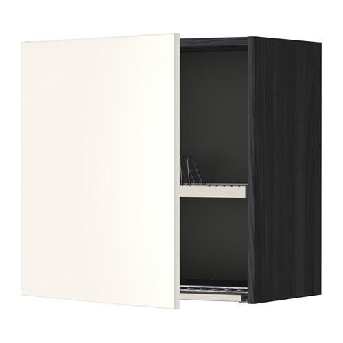 МЕТОД Шкаф навесной с сушкой - 60x60 см, Веддинге белый, под дерево черный