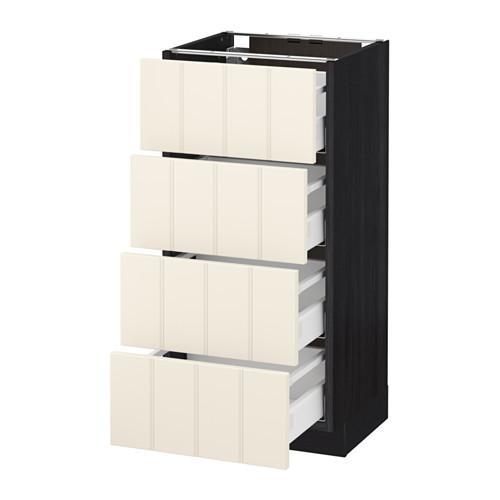 МЕТОД / МАКСИМЕРА Напольн шкаф 4 фронт панели/4 ящика - под дерево черный, Хитарп белый с оттенком, 40x37 см