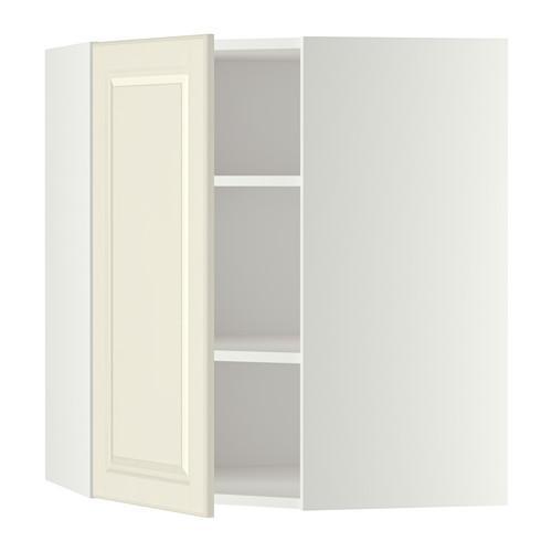 МЕТОД Угловой навесной шкаф с полками - 68x80 см, Будбин белый с оттенком, белый