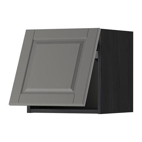 МЕТОД Горизонтальный навесной шкаф - 40x40 см, Будбин серый, под дерево черный