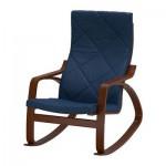 Poeng chaise à bascule - Edum bleu foncé, brun classique
