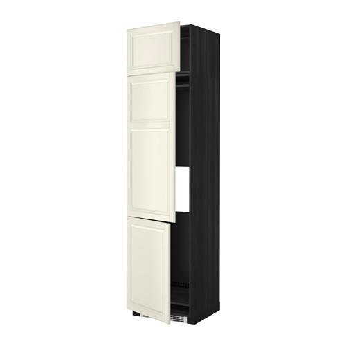 МЕТОД Выс шкаф для хол/мороз с 3 дверями - 60x60x240 см, Будбин белый с оттенком, под дерево черный