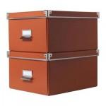 КАССЕТ Коробка для бумаг с крышкой - оранжевый