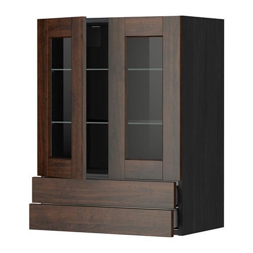 МЕТОД / МАКСИМЕРА Навесной шкаф/2 стек дв/2 ящика - 60x80 см, Эдсерум под дерево коричневый, под дерево черный