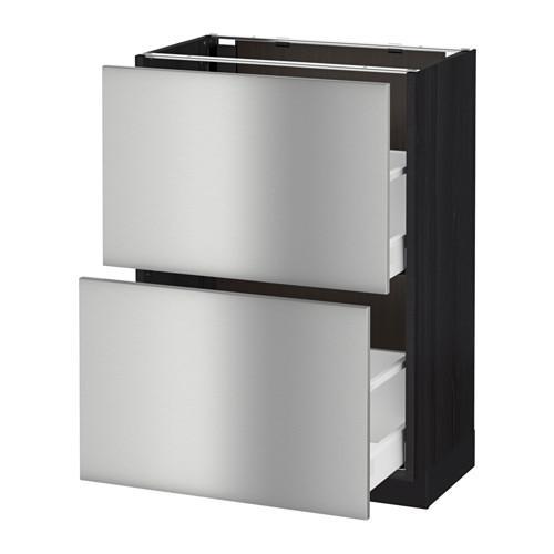 МЕТОД / МАКСИМЕРА Напольный шкаф с 2 ящиками - 60x37 см, Гревста нержавеющ сталь, под дерево черный
