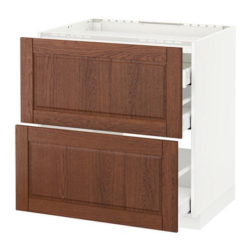 МЕТОД / МАКСИМЕРА Напольн шкаф/2 фронт пнл/3 ящика - 80x60 см, Филипстад коричневый, белый