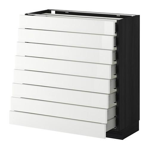 МЕТОД / МАКСИМЕРА Наполн шкаф 8 фронт/8 низк ящиков - под дерево черный, Рингульт глянцевый белый, 80x37 см