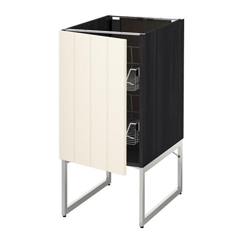 МЕТОД Напольный шкаф с проволочн ящиками - 40x60x60 см, Хитарп белый с оттенком, под дерево черный