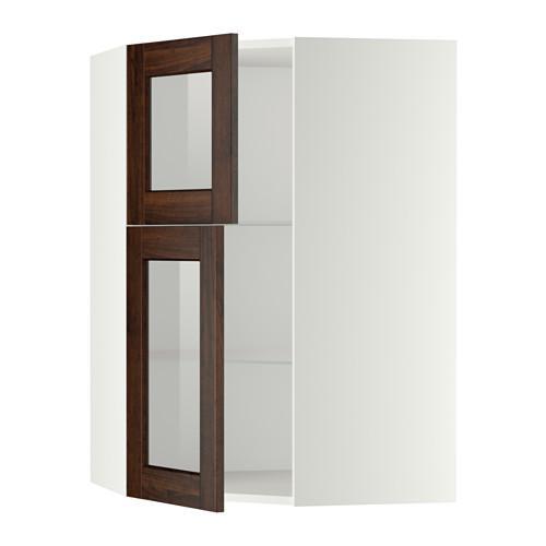 МЕТОД Углов навесной шкаф+полки/2 сткл дв - белый, Эдсерум под дерево коричневый
