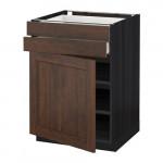 МЕТОД / МАКСИМЕРА Напольный шкаф с дверцей/2 ящиками - 60x60 см, Эдсерум под дерево коричневый, под дерево черный