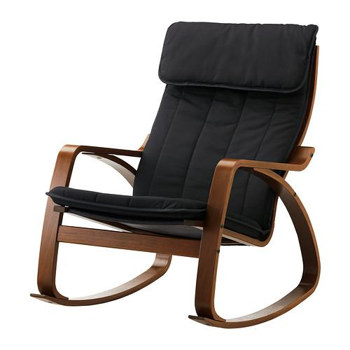 ПОЭНГ Кресло-качалка - классический коричневый, Ранста черный
