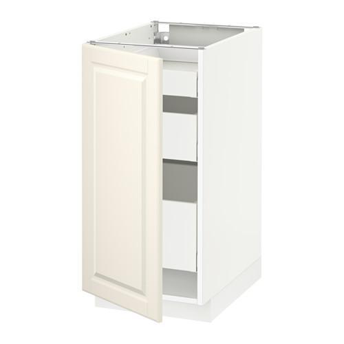 МЕТОД / МАКСИМЕРА Напольный шкаф с 1двр/3ящ - 40x60 см, Будбин белый с оттенком, белый