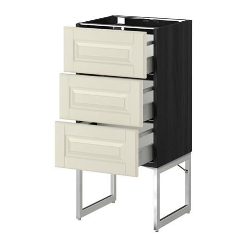 МЕТОД / МАКСИМЕРА Нплн шк 3 фрнт/3 средн ящика - под дерево черный, Будбин белый с оттенком, 40x37x60 см