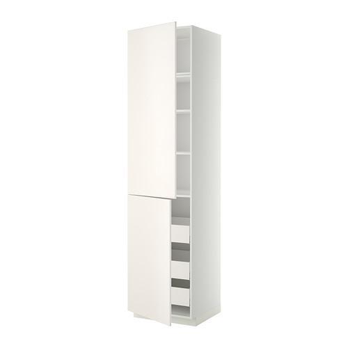 МЕТОД / МАКСИМЕРА Высокий шкаф+полки/3 ящика/2 дверцы - 60x60x240 см, Веддинге белый, белый