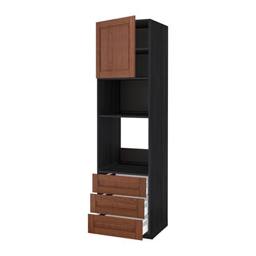 МЕТОД / МАКСИМЕРА Высок шкаф д/духовки/СВЧ/дверца/3ящ - 60x60x220 см, Филипстад коричневый, под дерево черный