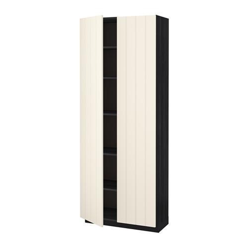 МЕТОД Высок шкаф с полками - под дерево черный, Хитарп белый с оттенком, 80x37x200 см