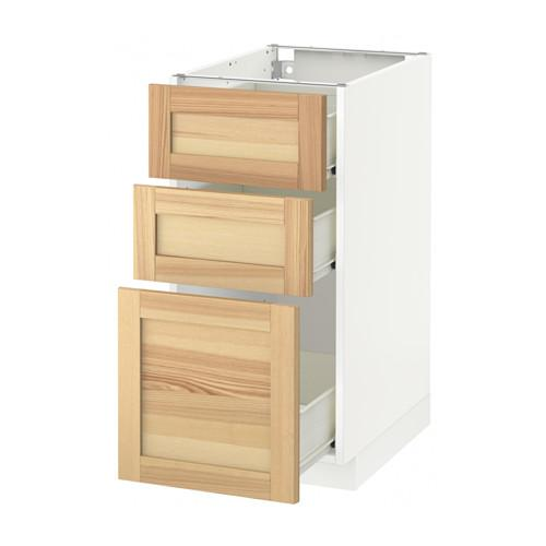 gabinete MÉTODO / Base FORVARA con cajones 3 - blanco, Torhemn fresno natural, 40x60 cm