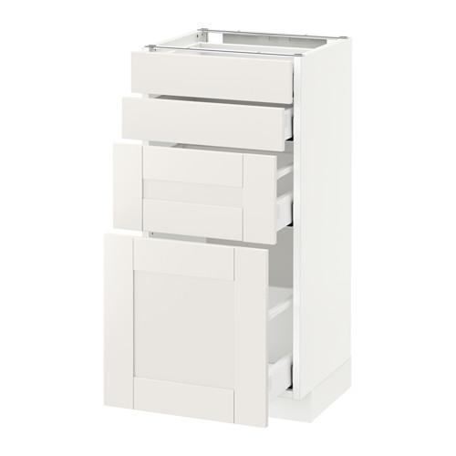 МЕТОД / МАКСИМЕРА Напольн шкаф 4 фронт панели/4 ящика - 40x37 см, Сэведаль белый, белый