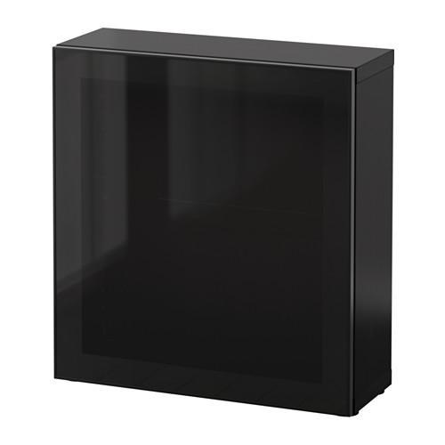 БЕСТО Стеллаж со стеклянн дверью - черно-коричневый/Глассвик черный/дымчатое стекло