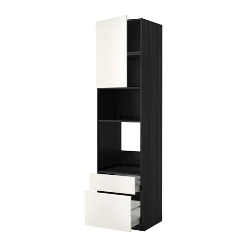МЕТОД / МАКСИМЕРА Высок шкаф д/духовки/СВЧ/дверца/2ящ - 60x60x240 см, Веддинге белый, под дерево черный