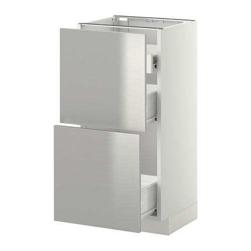 VERFAHREN / FORVARA Nap Schrank 2 FRNT PNL / 1nizk / 2sr Schubladen - weiß, Grevsta Edelstahl, 40x37 cm
