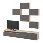 БЕСТО Шкаф для ТВ, комбинация - под беленый дуб/Грундсвикен темно-серый, направляющие ящика, плавно закр