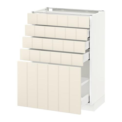 МЕТОД / МАКСИМЕРА Напольный шкаф с 5 ящиками - 60x37 см, Хитарп белый с оттенком, белый