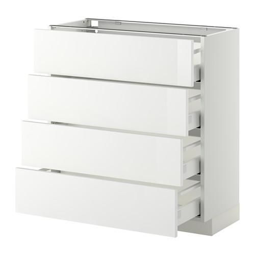 МЕТОД / МАКСИМЕРА Напольн шкаф 4 фронт панели/4 ящика - 80x37 см, Рингульт глянцевый белый, белый
